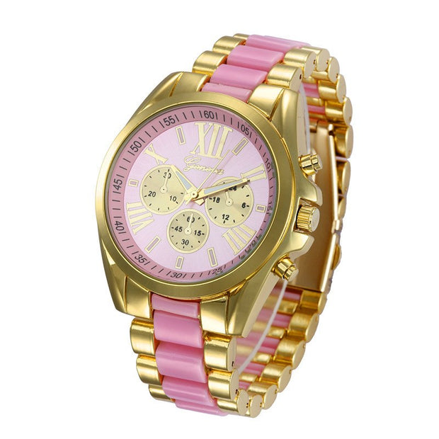 Geneva Silicone Watch Ladies Golden Stainless Steel Watchband Quartz Watch With Roman Numerals Dial For Women Dress Wristwatches