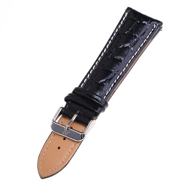 Genuine KS Brand Logo Men Wrist Watch Black Brown Leather Belt Band Steel Buckle Replacement Watchband For Wristwatch /WTL019-27