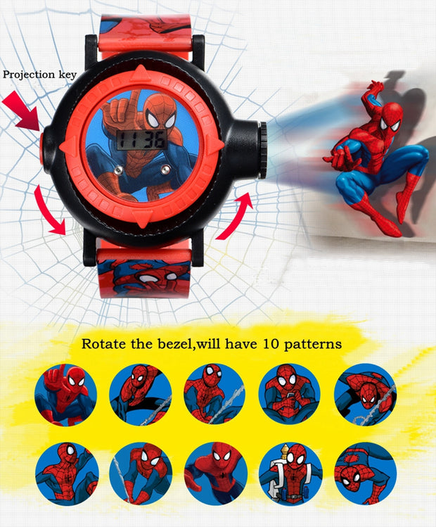 Genuine MARVEL Spider Man Projection LED Digital Watches Children Cool Cartoon Watch Kid Birthday Gift Disney Boy Girl Clock Toy