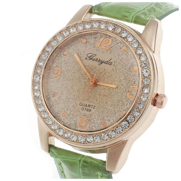 Gerryda Elegant Business Casual Sports Quartz Watches Rhinestones Women Ladies Quartz Watch