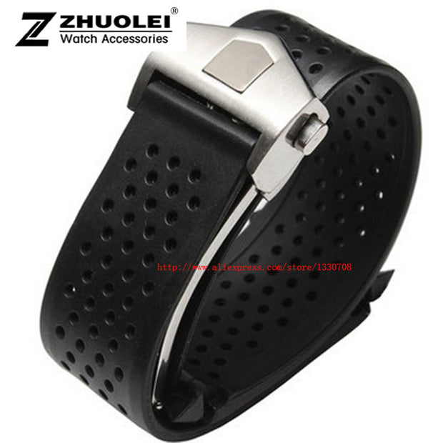 HOT 22mm 24mm New Top Grade Black Diving Silicone Rubber Holes Watch Band Strap With Stainless Steel Buckle