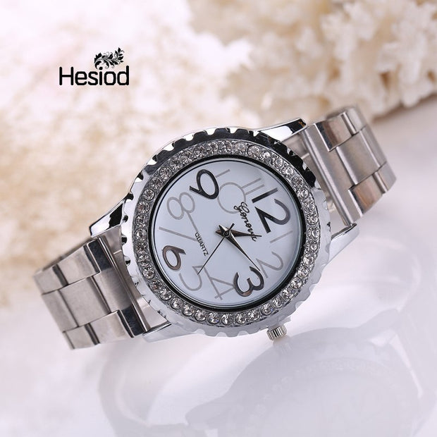 Hesiod Luxury Women Watch Stainless Steel Quartz Silver Color Business Hours Clock Ladies Fashion Casual Watches