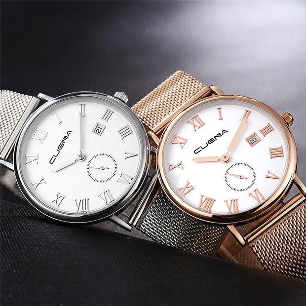 High Quality Modern Fashion Men Women Luxury Quartz Sport Military Stainless Steel Dial Mesh Band Wrist Watch Gift For Female