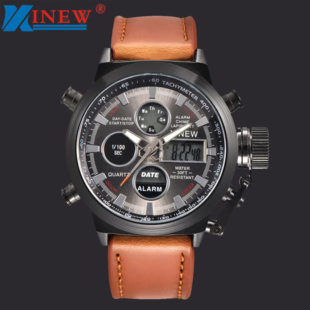 Hot Fashion Faux Leather Mens Quartz Watches Sport Military Army LED Man Luminous Analog Stainless Steel Wrist Watch Clock 40Q