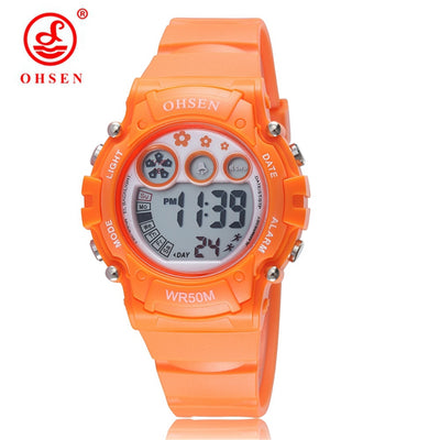 Hot Sale OHSEN Boys/Girls Children Orange Electronic Digital Sports Watches Kids Military Watch Waterproof Rubber Student Clock