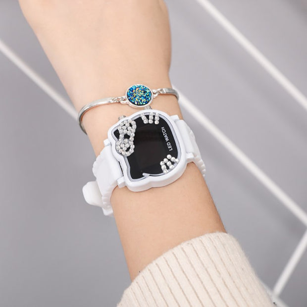 Hot Sales Cute Hello Kitty Watch Women Children Girls Crystal Ladies Dress LED Wristwatch Digital Watch Relogio Feminino