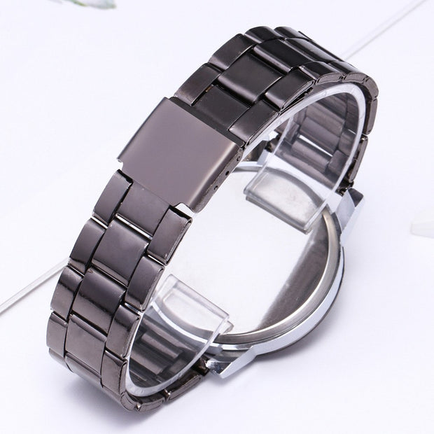Hot Sale 1 Pair Student Couple Stylish Spire Glass Steel Band Quartz Watch In Stock Dropshipping