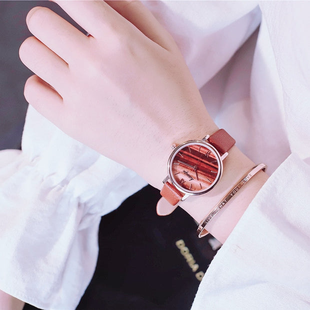 Ins Watch Women Cherry Powder Girl Heart Creative Personality Optical Phantom Korean Version Of The Simple Fashion Sen Belt