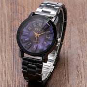 KEVIN Watches Women Luxury Purple/Red Quartz-watch Fashion Casual Clock Full Black Stainless Steel Band Ladies Relogio Feminino