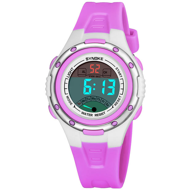 Kids Girls LED Luminous Week Date Alarm Clock Stopwatch Digital Wist Watch Gifts