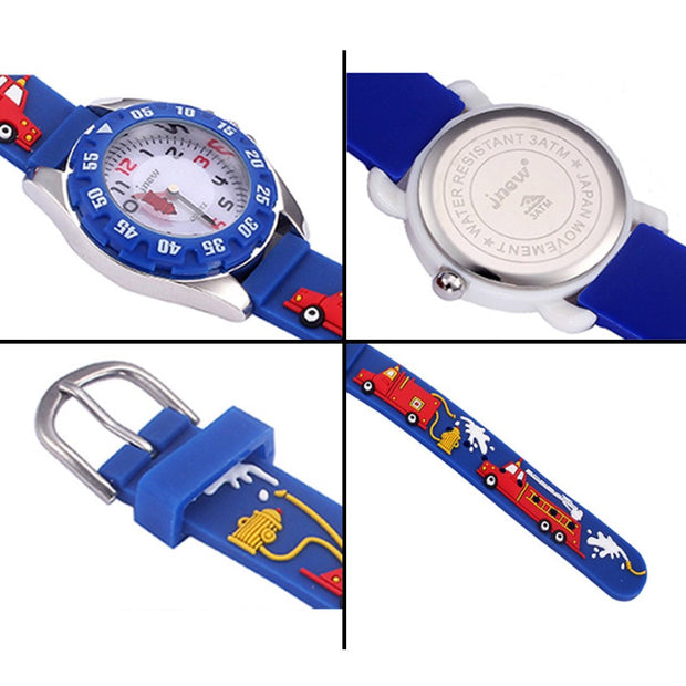Kids Watches 3D Cartoon Fire Truck Waterproof Sport Silicone Children Watches Gift For Boys Girls Children's Jewelery