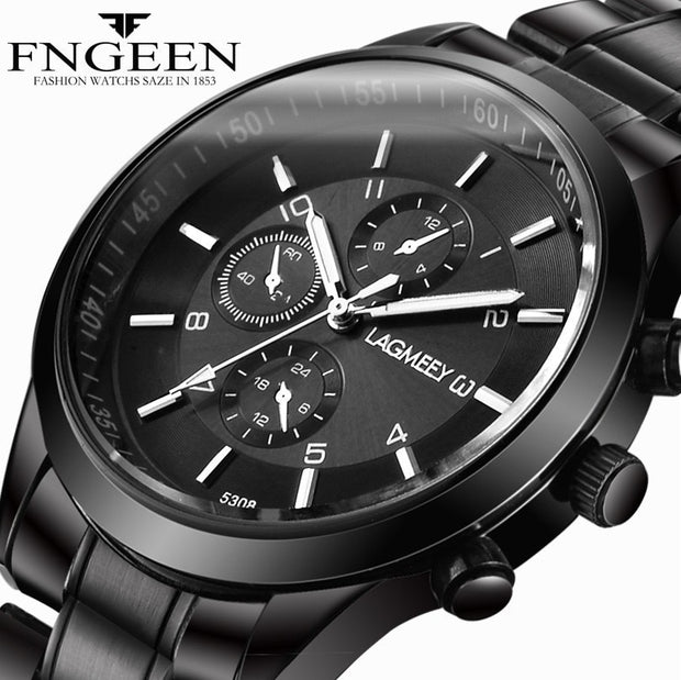 LAGMEEY Men Watches Super Thin Black Stainless Steel Band Men's Quartz Watch Male Waterproof Sports Wristwatch Clock Montre