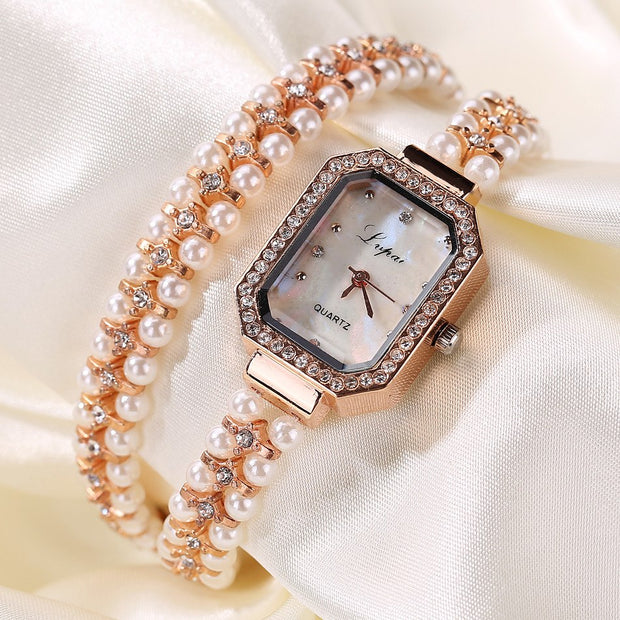 LVPAI Bracelet Women Watch Luxury Diamond Rectangle Quartz Watch Womens Fashion Artificial Pearl Band Wrist Watches Montre #Ni