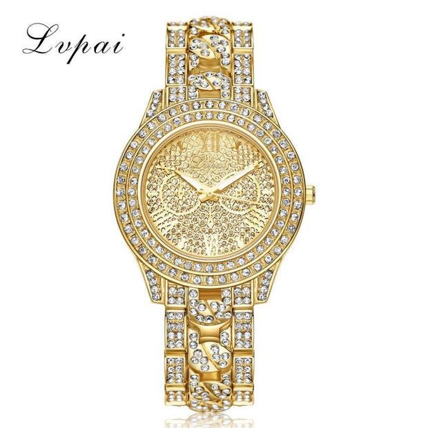 LVPAI Luxury Diamond Watches Women Fashion Brand Stainless Steel Bracelet Wrist Watch Womens Design Quartz Watch Clock Reloj #JO