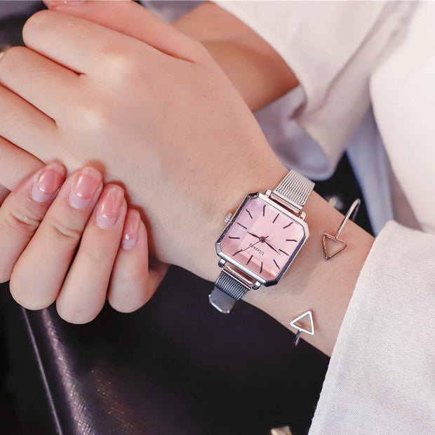Ladies Wristwatches Ulzzang Popular Brand Simple Stylish Quartz-watch Square Dial Women's Fashion Retro Watches Relogio Feminino