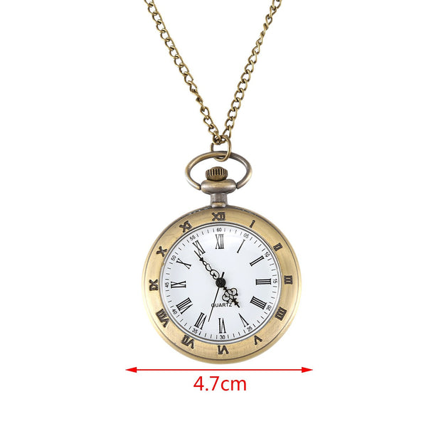 Large Single Shell Roman Retro Pocket Watch Bronze Pendant Necklace Men'S And Women'S Gifts