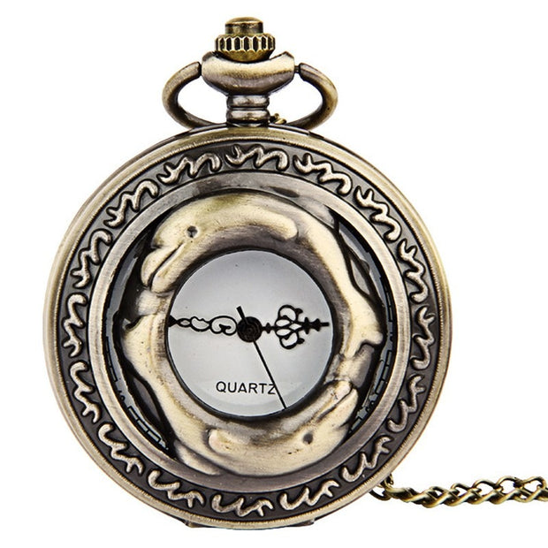 Large Bronze Lace Openwork Double Dolphin Head And Tail Connected Pocket Watch Issued Retro Pocket Watch