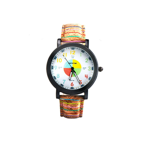 Leisure Colorful Numeral Analog Faux Leather Band Unisex Couple Wrist Watch Bracelet New