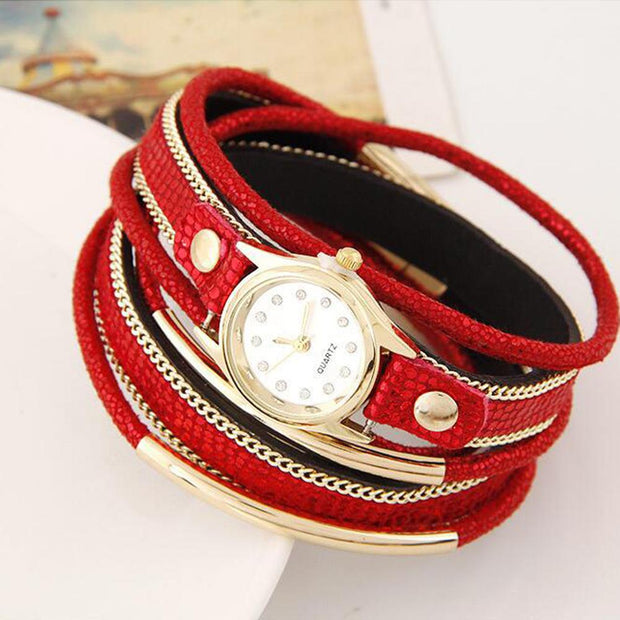 LinTimes Women's Watch Multi Layers Metallic Ornament Twining Hand Chain Leather Belt Quartz Watch