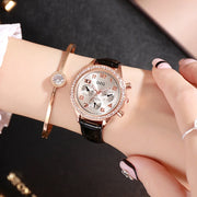 Luxury Brand Rhinestone Women Watches Fashion Casual 3-eye Dress Watch Women Elegant Leather Watch Relogio Feminino Female Clock