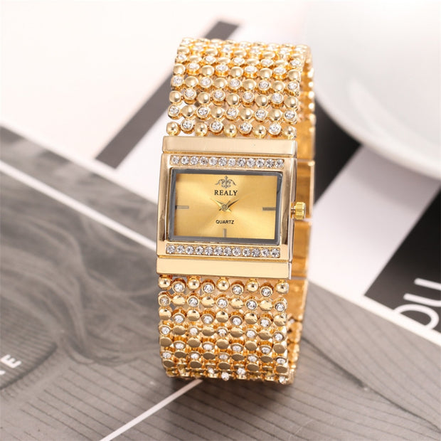 Luxury Ladies Metal Quartz Mesh Belt Square/Round Dial With Diamond Women Watches Rose Gold Women Watches Elegant Minimalism A50