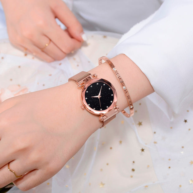 Luxury Ladies Watch Fashion Female Stainless Steel Mesh Quartz Wrist Watch Starry Sky Women Bracelet Watches Montre Femme 2019