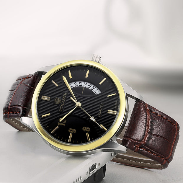 Luxury Men's Date Watch Faux Leather Analog Quartz Business Gift Wrist Watch