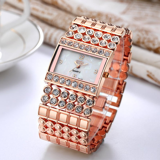 Luxury O.T.SEA Brand Rose Gold Bracelet Watches Women Ladies Crystal Dress Quartz Wristwatches Relogio Feminino 2148