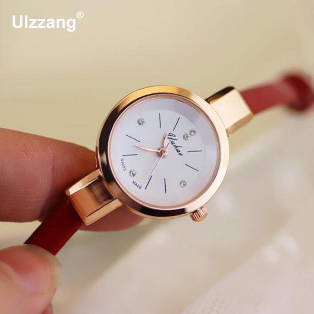 Luxury Simple Rose Gold Crystal Diamond Slim Thin Leather Strap Quartz Wedding Watch Wristwatches For Women Ladies Girls