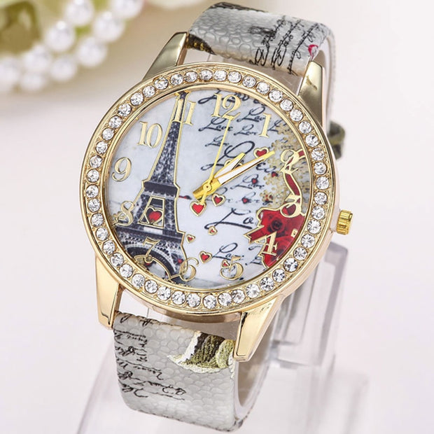 Luxury Women's Watch Leather Band With Artificial Crystal Dial Eiffel Tower Pattern Causal Wristwatch For Women And Ladies