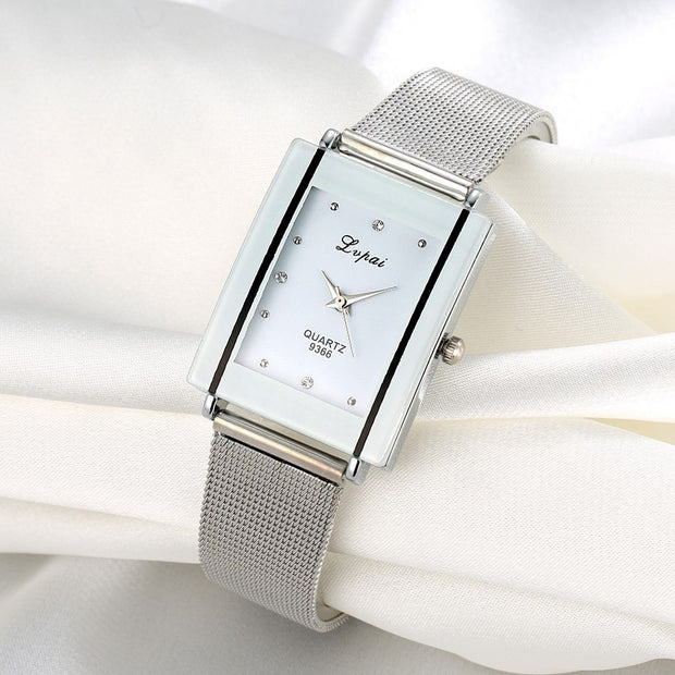 Lvpai Brand Women Bracelet Watch Silver Square Luxury Crystal Alloy WristWatches Women Fashion Watch Quartz, P140