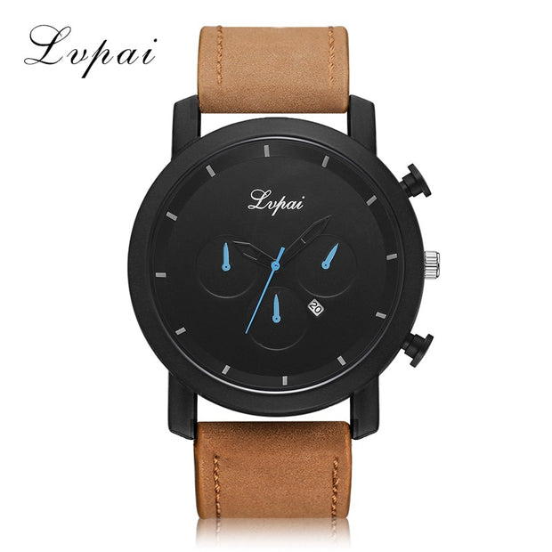 Lvpai Fashion Large Dial Military Quartz Men Watch Leather Sport Watch Calendar High Quality Clock Wristwatch Relogio Masculino