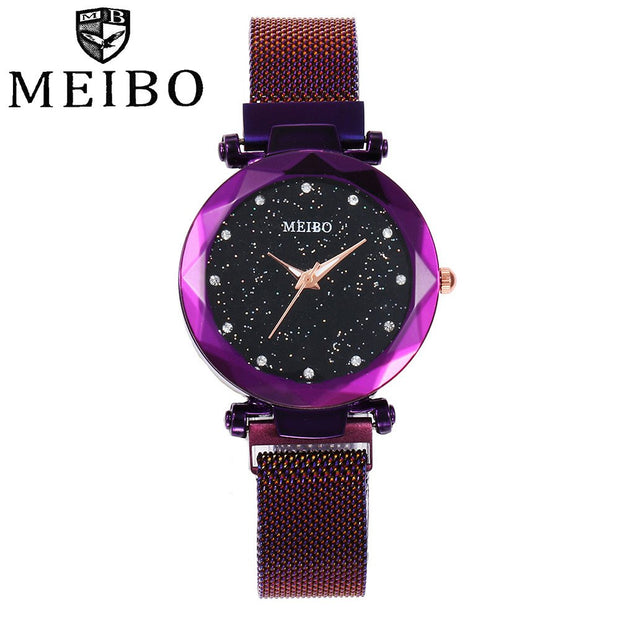 MEIBO Fashion Women Mesh Magnet Buckle Starry Sky Watch Casual Luxury Women Geometric Surface Quartz Watches Relogio Feminino533
