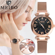 MEIBO Quartz Stainless Steel Band Magnet Buckle Starry Sky Analog Wrist Watch Montre Femme Cuir Women's Watch Vrouwen Horloges