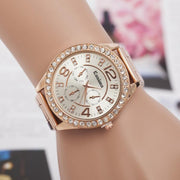 MINHIN Gold/Silver/Rose Gold Colors Women Steel Wrist Watches Classic Round Dial Women Rhinestone Watches Gift Drop Shipping