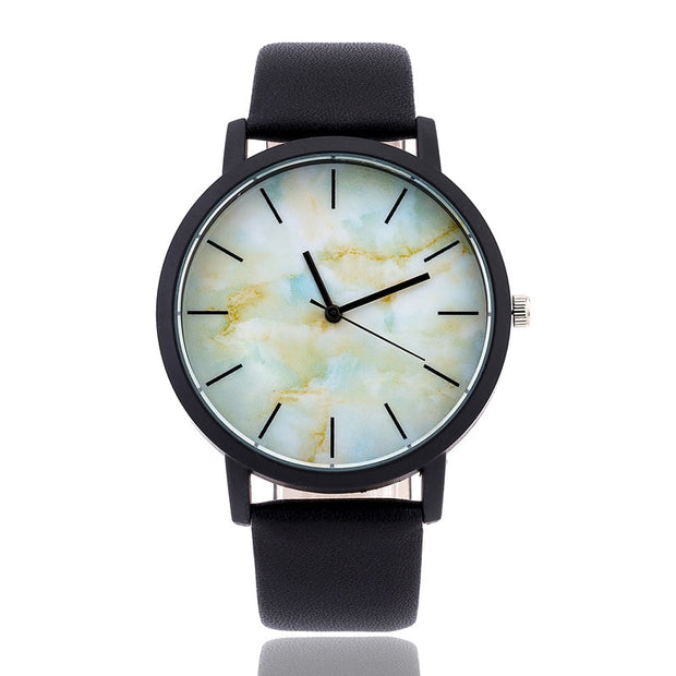 Marble Watches British Style Fashion Marbling Dial Unique Watch Men Women Quartz Wristwatches Simple Genuine Leather Clock Hours