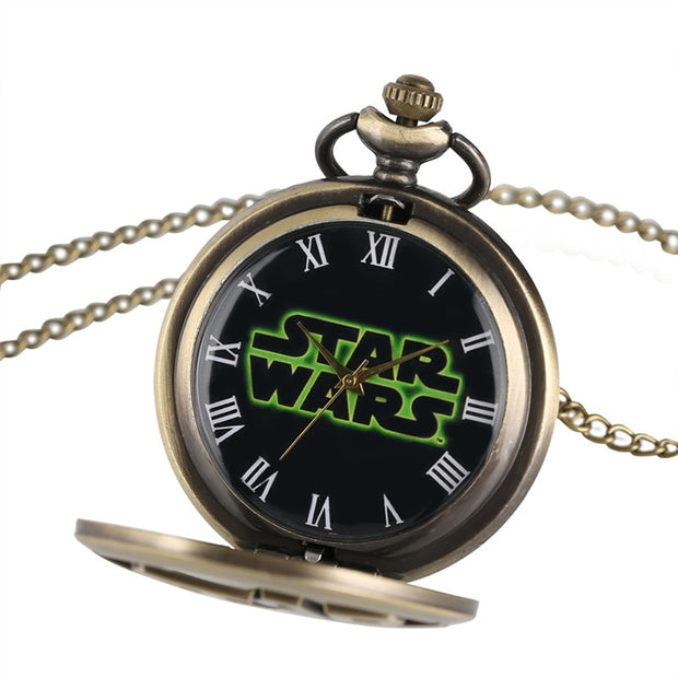 Marvel Star Wars Pocket Watches Yoda Darth The Force Awakens Anime Gifts For Children Men Boyfriend Fans Necklace With Chain