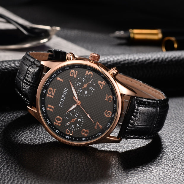 Men Luxury Stainless Steel Quartz Military Sport Leather Band Dial Wrist Watch Uomo Box Watch Band Christmas Gift _12.20