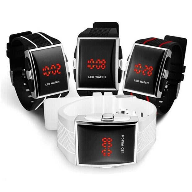 Men Sport Digital Watches Black White Rectangle Man LED Fitness Watch Silicone Strap Mens Electronic Clock Relogio Masculino New