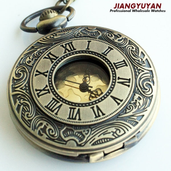 c4c988a3d Men Vintage Pocket Watch Retro Antique Watches With Chain Necklace Roman  Steampunk Gift For Him Anniversary Weddings Groomsman