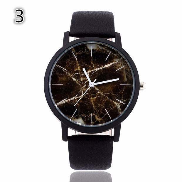 Men Watch Fahsion Marbled Road Watch Top Brand Leather Watch For Men Clock Saat Relogio Masculino Relojes
