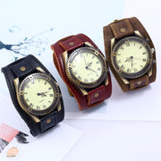 Men Watches Punk Vintage Cow Leather Wristwatch Roman Numbers Dial Casual Watch Gift LXH