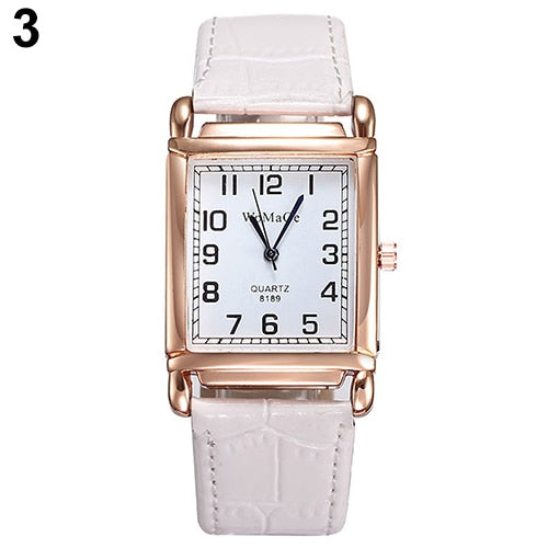 Men Women Fashion Faux Leather Band Square Dial Quartz Analog Wrist Watch Dropshipping