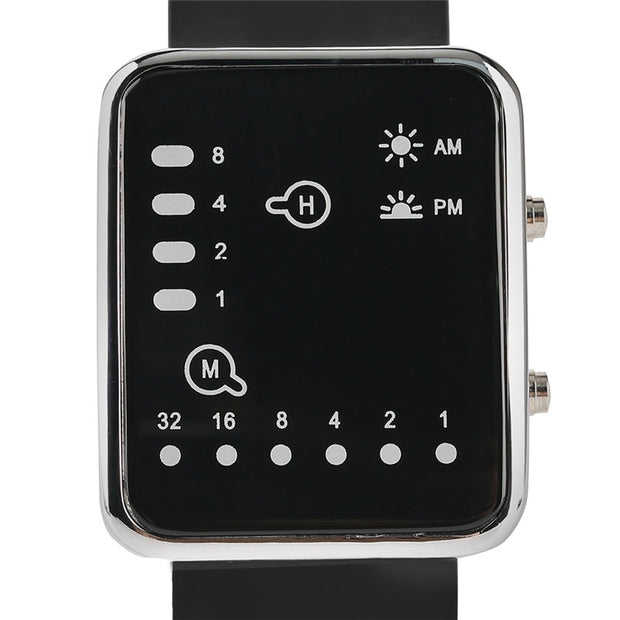 Men's Blue LED Binary Watch Creative Big Square Dial Unique Digital Black Silicone Band Boys Male Clock Gifts Relogio Masculino