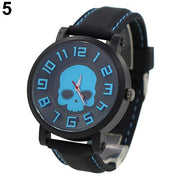 Men's Fashion Skull Head Punk Gothic Sports Silicone Quartz Wrist Watch Jewelry Relojes