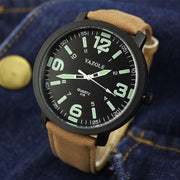 Men's Waterproof Unisex Luminous Wrist Watch Luxury Sport Watches PU Strap Quartz Watches Fashion