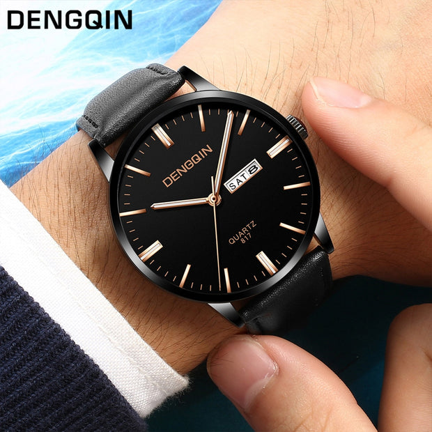 Men Watch Fashion Luxury Brand Casual Gold Black Quartz Sport Military Stainless Steel Dial Leather Band WristWatch ASS