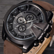 Mens Big Watches Men Leather Gold Military Quartz Wrist Watch Men Army Unique Designer Watches Erkek Saat Relogio Masculino