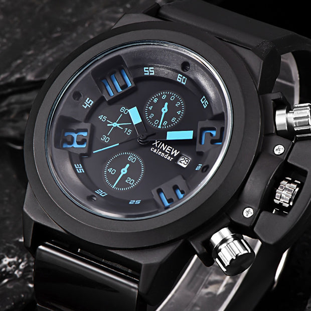 Mens Fashion Silica Sport Date Chronograph Analog Quartz Wrist Watch Waterproof Luxury Brand Fashion Casual Black Watches A40