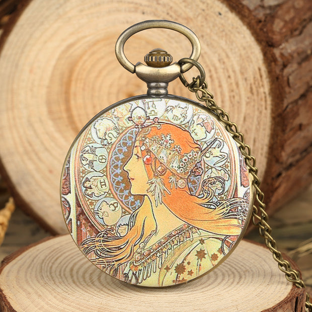 Mens Novel Pocket Watch Woman Design Pocket Watch For Boy Quartz Arabic Number Necklace Pocket Watches For Teenager